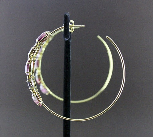 Jemma Wynne Large Rare Tourmaline & Diamond Hoop Earrings, 18K Yellow Gold