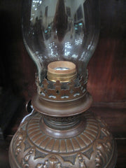 "Electrical ""Kerosene Style"" Table Lamp in Copper"