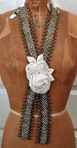 Lizzy Couture One of a Kind Chain Necklace with Swarovski Crystals and Silk Roses