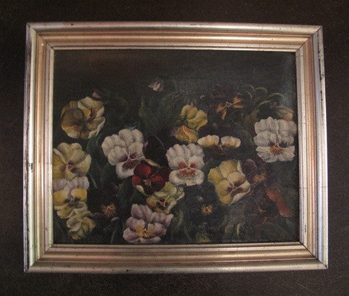 Antique Painting of Pansies, Oil Painting on Canvas, mid 19th Century English