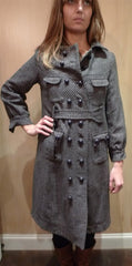 Grey 3/4 Double Breasted Coat with Self Belt