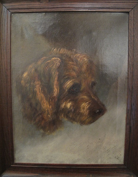 Antique Victorian Terrier Portrait Oil on Canvas, Circa 1895