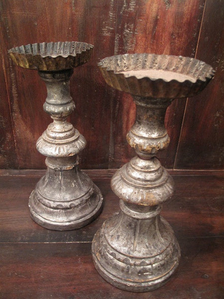 Antique Pair of French Restoration Style Silver Gilt Candleholders
