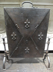 Antique French Iron Fire Screen, 19th Century