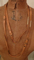 Annie Costello Brown Leather Dressage Long Necklace