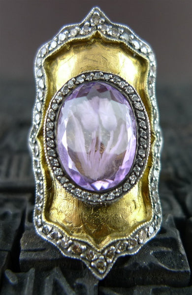 Sevan Bicakci  Carved Theodora Ring in 24K Yellow Gold, Silver, Amethyst, and Diamonds