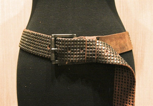 Malini Murjani Studded Belt -Brown with Gunmetal Studs