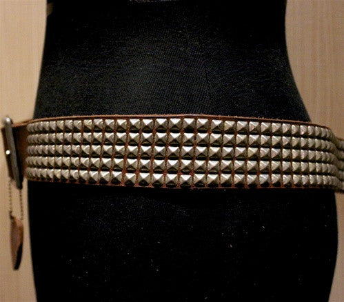 HTC Studded Brown Leather Belt