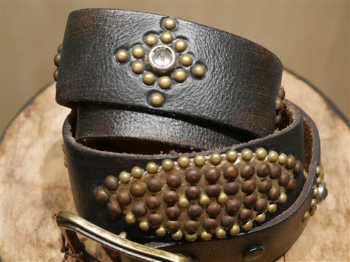 B-Low The Belt Gold Metallic Studded Black Leather Belt