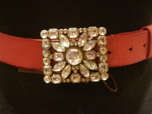 Linea Pelle Pink Leather Belt with Jeweled Buckle