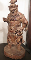 Antique Statuette Bois de Chine, Wooden Chinese Guardian Figure