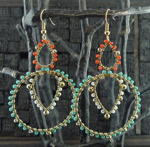 Fulham Multi White, Hot Pink & Turquoise Bead Wrapped Chandelier Earrings
