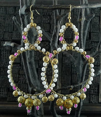 Fulham Pink, White, and Gold Tone Bead Wrapped Chandelier Earrings