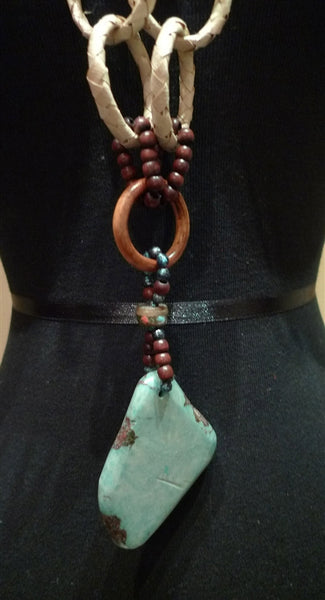 Chick Studios Straw, Wood, Woven Grass, and Turquoise Necklace