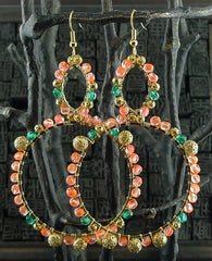 Fulham Multi Peach, Coral & Turquoise Bead Wrapped Chandelier Earring