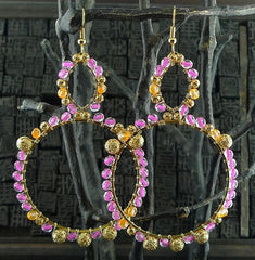 Fulham Pink and Orange Bead Wrapped Chandelier Earrings
