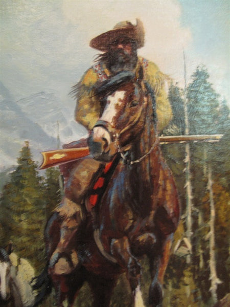 Woodsman In Mountain Landscape 20th Century Oil Painting