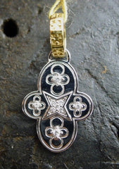 D&A 18K White and Yellow Gold and Diamond Floreo Charm Pendant