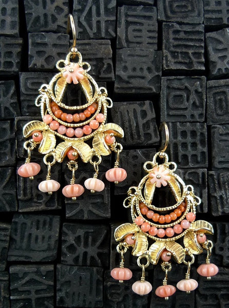 Becky Kelso 18K Yellow Gold and Coral Chandelier Earrings