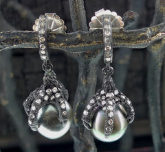 Irit Design Oxidized Sterling Silver and Diamond Claw Earrings with Tahitian Pearls