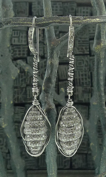 Irit Design Oxidized Sterling Silver and Diamond Grenade Earrings
