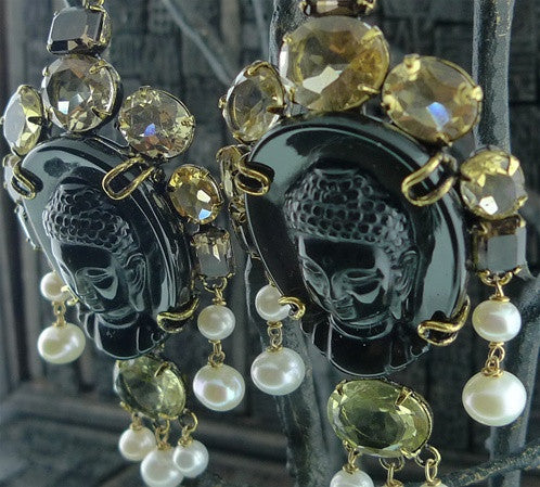 Iradj Moini Buddha Cameo Earclips/Earrings of Black Obsidian, Citrine & Pearl