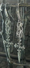 Irit Design Oxidized Sterling Silver and Diamond Sword Earrings
