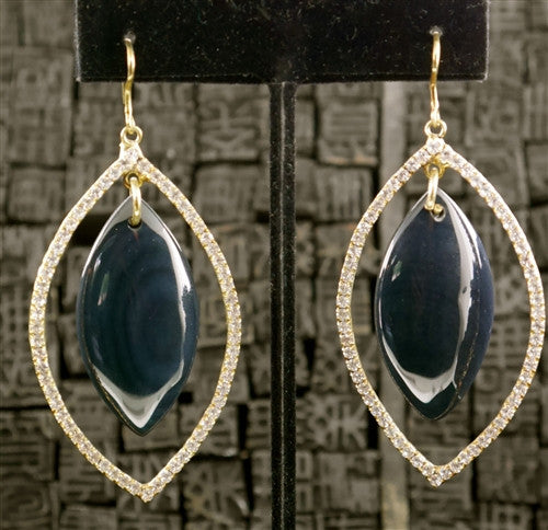Sheila Fajl Marquise CZ with Blue Agate Crystal Drop Earrings