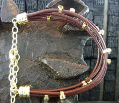 Marcia Moran Five Strand Leather Cord Bracelet Studded with CZs in Gold Finish