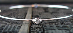 Marcia Moran Rhodium Bangle Bracelet with Bezel Set CZ Stations
