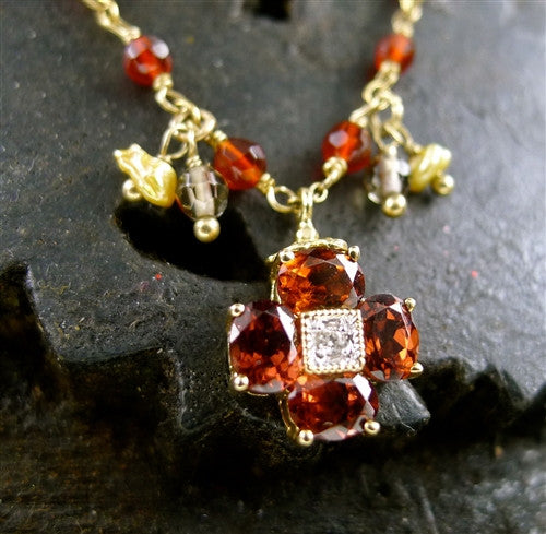 Sage 14K Yellow Gold, Garnet, and Diamond Charm Necklace