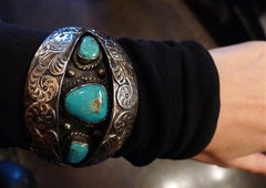 Sterling Silver and Turquoise Shadow Box Cuff Bracelet, Signed