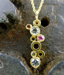 Gretchen Julius 14K Yellow Gold Mixed Sapphire Necklace