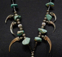 Rare Native American Necklace of Turquoise, Claws and Talons in Sterling Silver