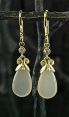 Pamela Froman 18K Royal Princess Cap Nude Moonstone and Diamond Earrings
