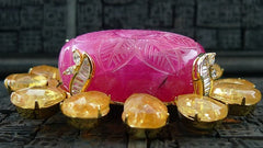 Siman Tu Carved Pink Stone with Citrine Briolette Brooch