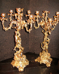 Antique PAIR French Ormolu 7-Light Candelabra, Latter 19th Century