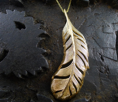 Mia & Kompany 14K Yellow Gold Feather Charm Necklace