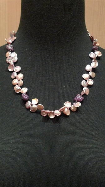 Churchill Private Label Pink Coin Pearl and Pink Sapphire Necklace