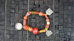 Churchill Private Label Old African Trading Bead Bracelet with Indonesian Amulets