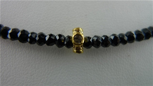 Faceted Black Spinel Bead Necklace with 22K Yellow Gold and Diamond Bead
