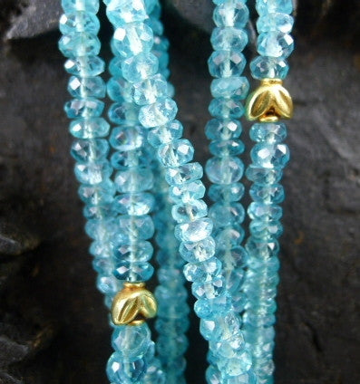 CHURCHILL Private Label Apatite Torsade Necklace with 22K Gold Bead Stations