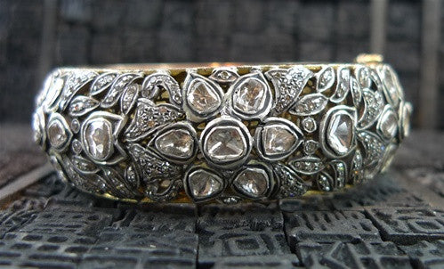 Lorraine Schwartz Diamond, 18K Gold & Oxidized Silver Bangle Bracelet