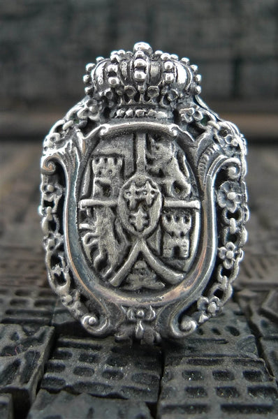 Lazaro Sterling Silver Crest and Crown Ring
