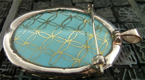 Antique Venetian Turquoise Glass Cameo Pendant/ Brooch in Yellow Gold