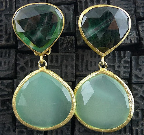 Coralia Leets Large Watermelon Green Quartz and Green Chalcedony Double Clip On Earrings
