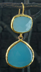 Coralia Leets Double Stone Light Blue Chalcedony Earrings
