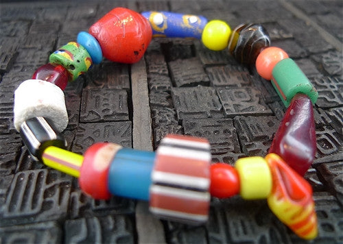 Churchill Private Label Old African Trading Beads Stretch Bracelet