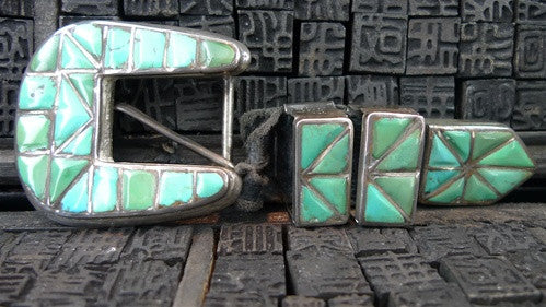Old Indian Pawn Sampler Ranger Set Belt Buckle with Inlaid Turquoise
