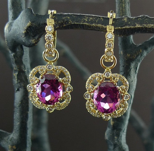 Erica Courtney Rubelite and Diamond Earrings in 18K Yellow Gold